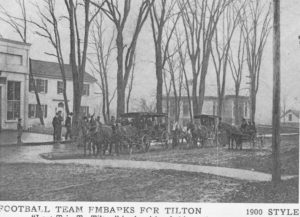 New Hampton Football team prepares for the Powder Keg game against Tilton School, circa 1900.