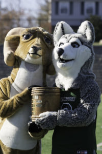 New Hampton School's Harry the Husky and Rusty the Ram of Tilton School at the annual Powder Keg