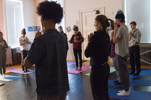 Self Esteem comes from within. These students spend time centering during a yoga session.