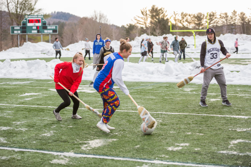 New Hampton School Broom Ball on the Turf