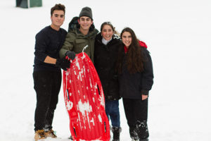 After the first snow of the season, students were eager to test out their sleds on the campus hill.