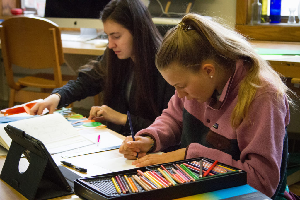 Students in art class.