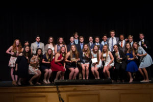 Spring student-athletes celebrate awards prior to championship tournaments in May 2018.