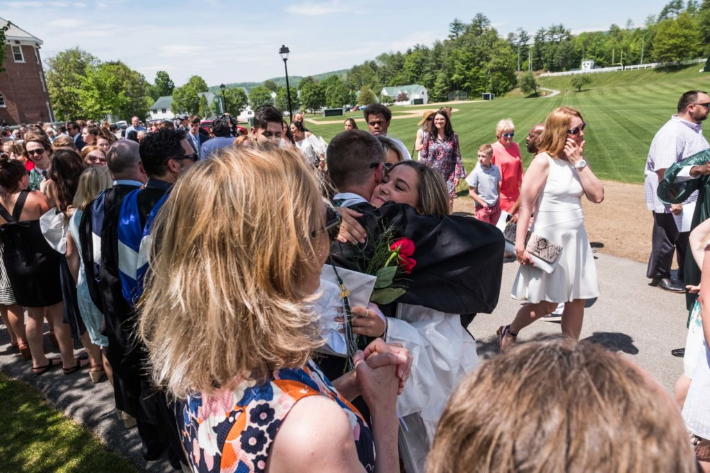 Faculty and students say farewell after the closing of Commencement 2018.