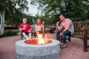 Reunion attendees enjoyed an evening by the fireplace, roasting marshmellows and reconnecting.