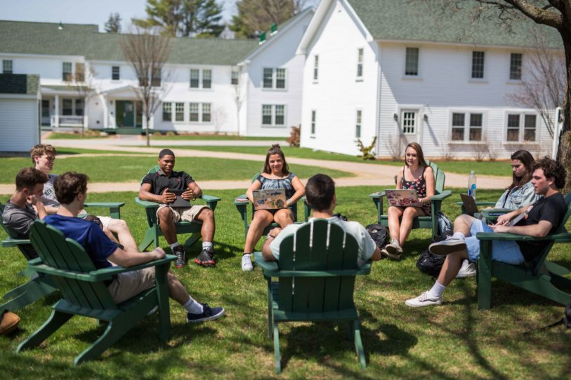 New Hampton School students enjoy a class outside.