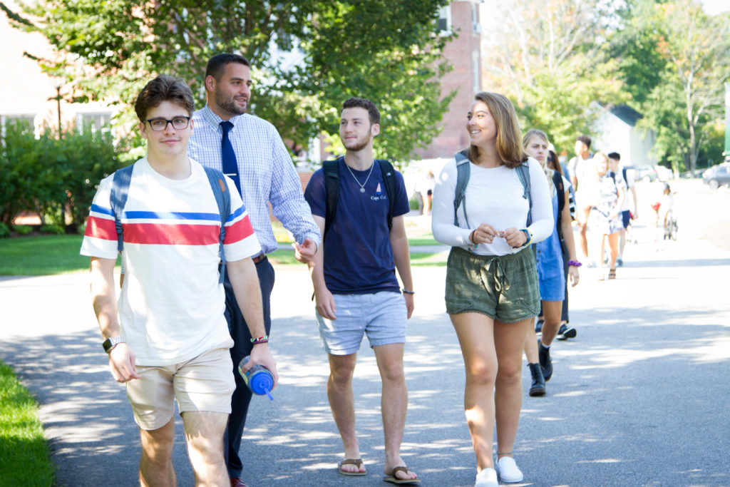 New Hampton School students and faculty walk to class.