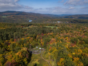 View from Burleigh Mountain of New Hampton School Campus and Pemigewasset River