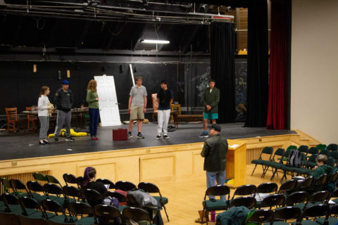"New Hampton School students rehearse their fall production of ""Clue: On Stage."""