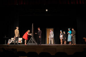"""New Hampton School students rehearse their fall production of """"Clue: On Stage."""""""