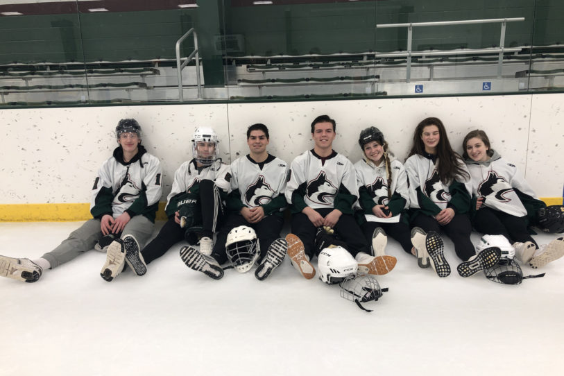 Broom ball teams in Jacobson Arena