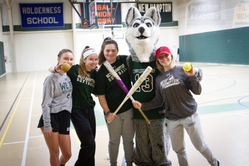 New Hampton Husky with Female Athletes