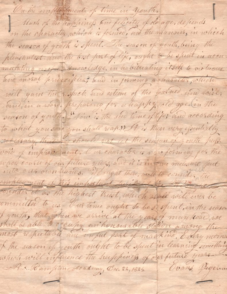 Evans Page's letter was found among a former headmaster's materials and is now part of the New Hampton School archive.