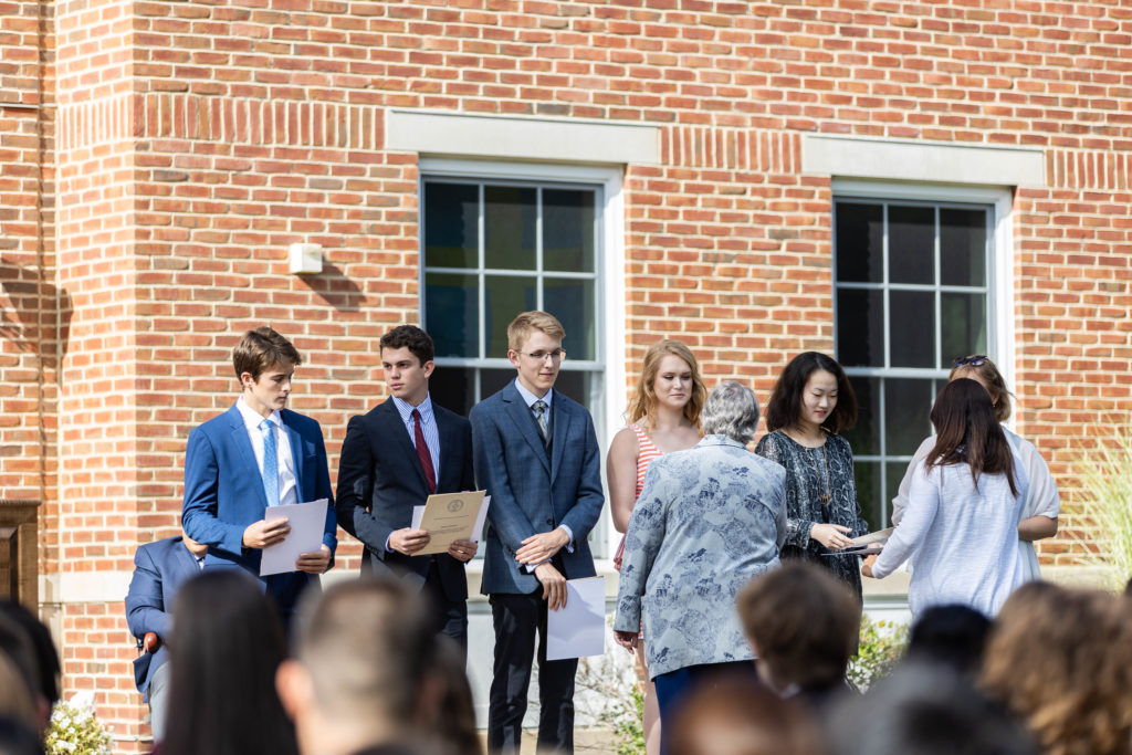 Convocation at New Hampton School features a short induction ceremony for new Cum Laude Society members.