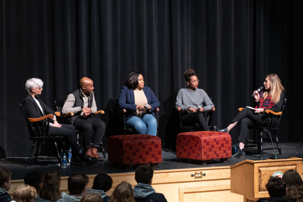 A diverse and inspirational alumni panel presented on intersectionality, equity, and diversity at New Hampton School.