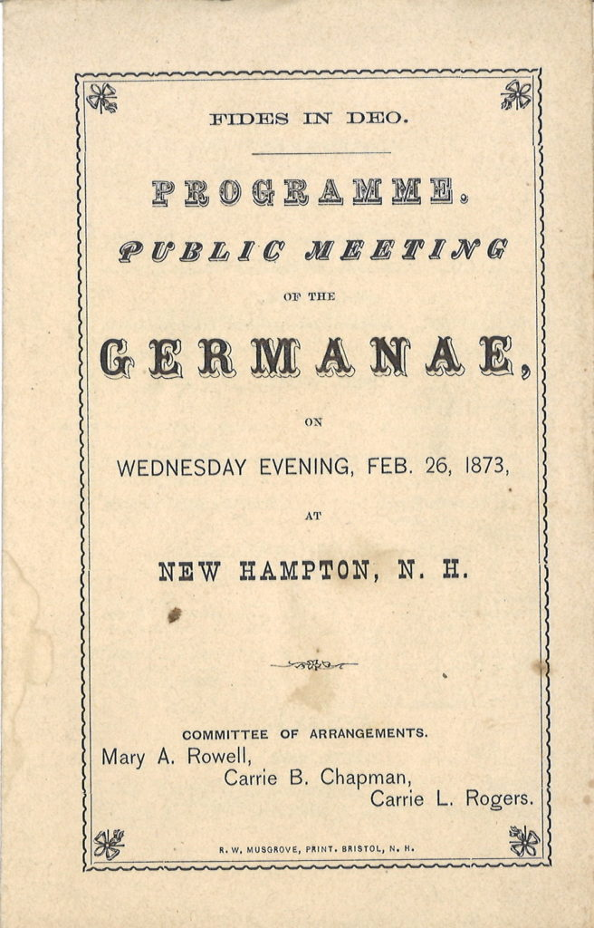 Germanae programme, February 1873