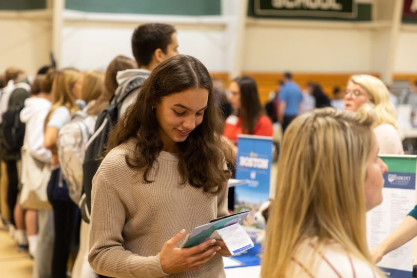 A college search involves visits in person, campus tours, as well as college fairs.