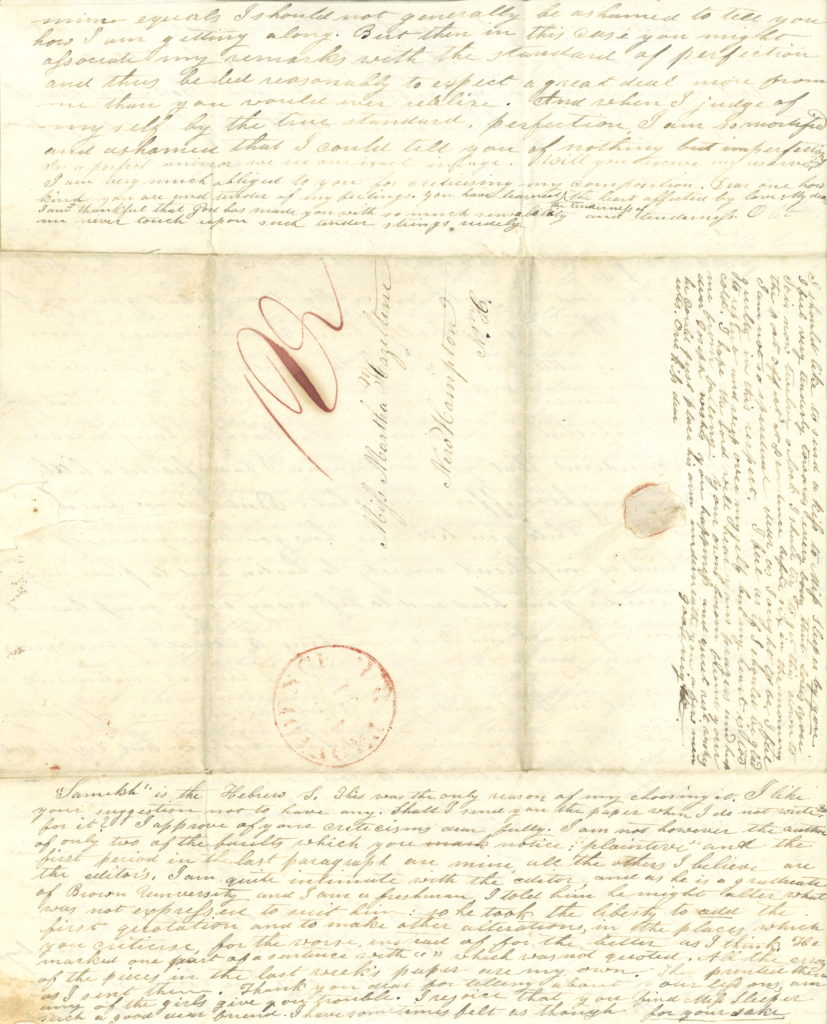 Love letter to Martha Hazeltine, Class of 1827