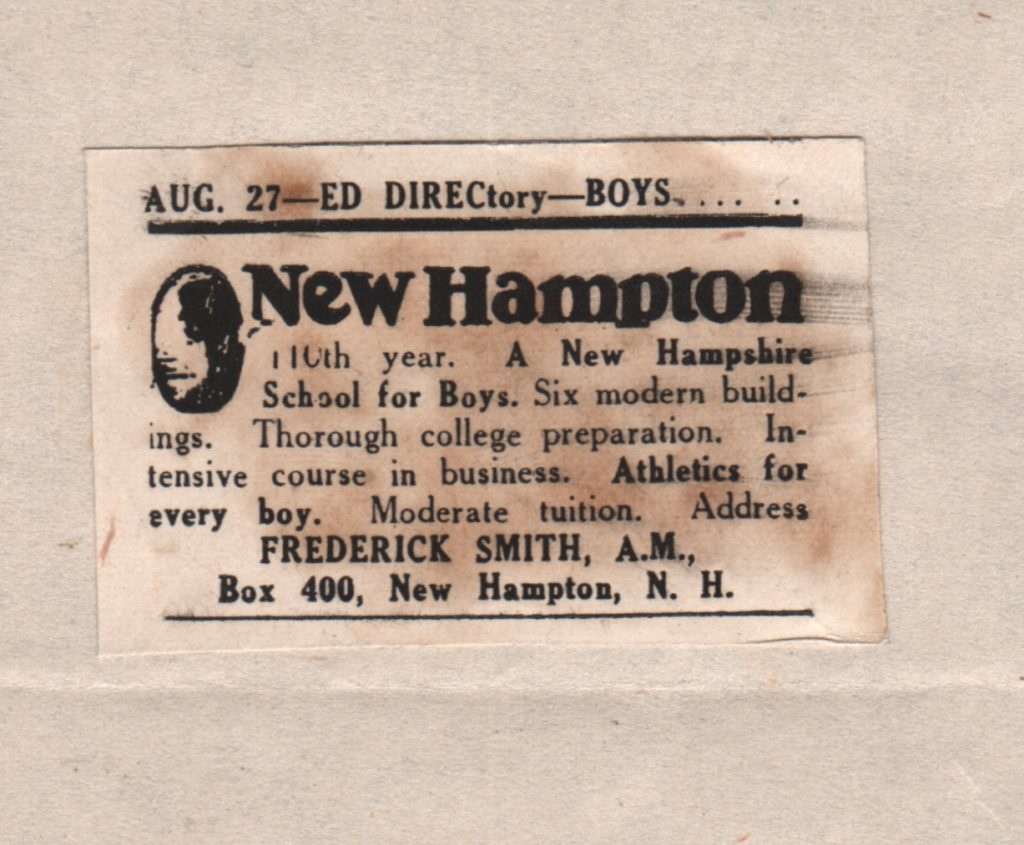 advertising advertisment New Hampton School for Boys