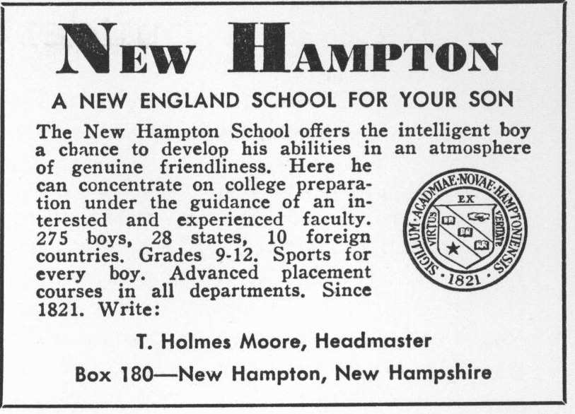 Advertising advertisement New Hampton School for Boys