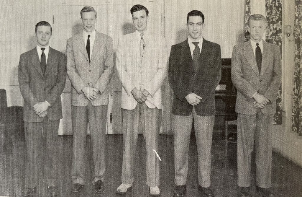 Bob Kennedy '50 (second from left) along with his fellow class officers during their senior year. In addition to being class vice president, Bob was a three-sport varsity athlete, a member of the glee club, double quartet, choir, and Manitou staff. He resided in Draper.